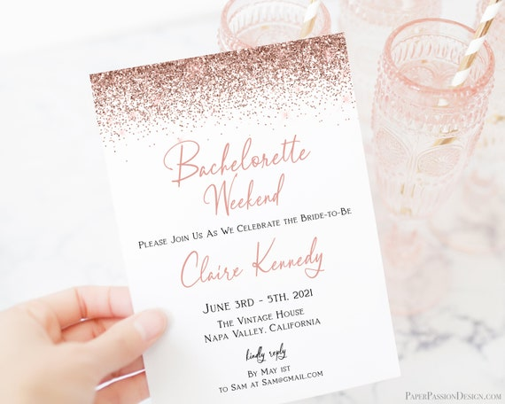 Bachelorette Weekend Invite Set, Hen Party Invitation Set, Bridal Shower, Rose Gold Glitter, Itinerary & Details Card, Corjl PPW90 PPW92