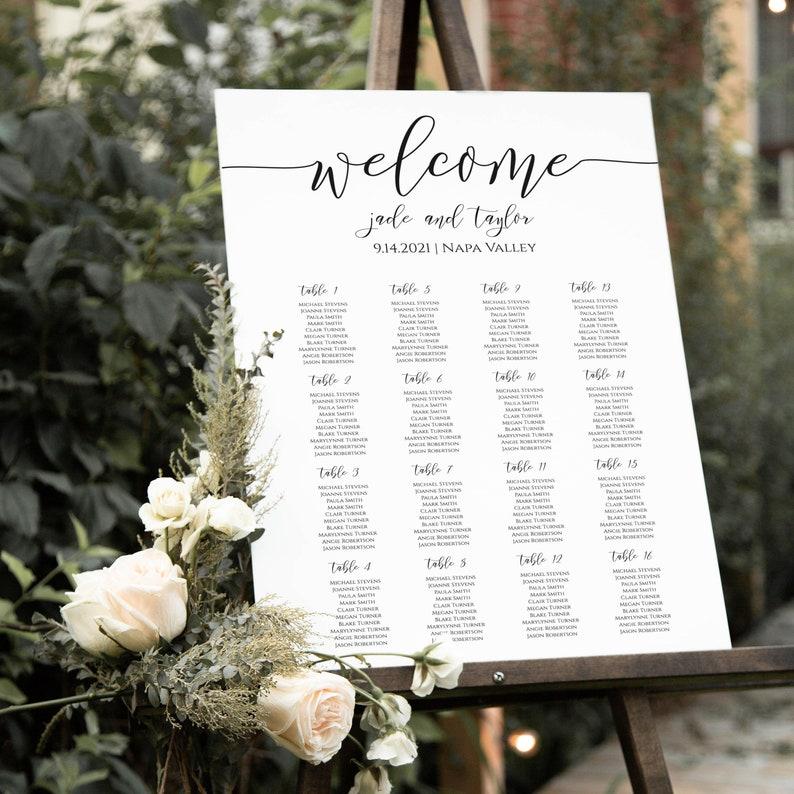 Wedding Elegant Calligraphy Seating Chart Sign Poster image 0