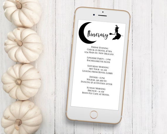 Itinerary, Schedule of Events, Witch Event Announcement, Electronic, Email Itinerary, Editable Text, Corjl 2021A-HALLOWEEN