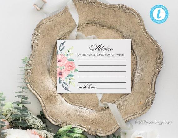 Wedding Advice Card, Bridal Advice, Boho Floral Wedding Printable Template, 100% Editable Text, Instant Download, Templett, DIY PPW0220
