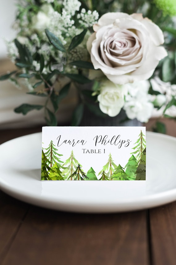 Pine Tree Place Card Template, Printable Escort Card, Wedding Seating, Editable Template, Corjl LINDEN PPW410