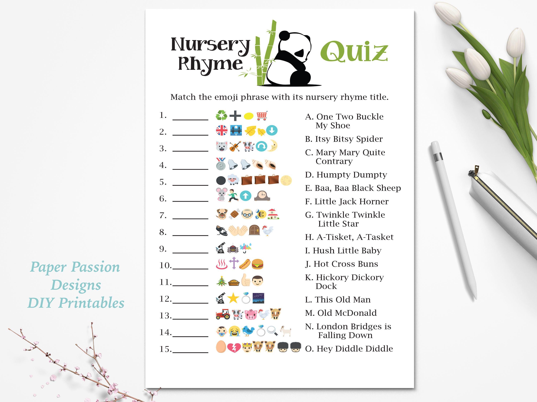 Emoji Nursery Rhyme Quiz ~ Panda Bear Baby Shower Game ...