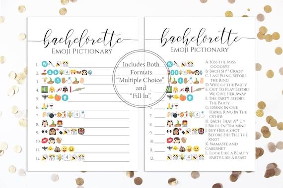 Bachelorette Emoji Pictionary Game Printable, Bach Party, Elegant Simple Design, Bridal Shower Activity GRACE PPW0550