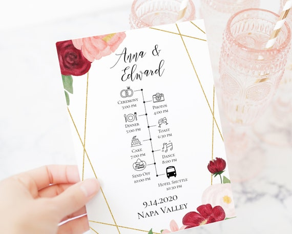 Wedding Day Timeline and Program, Floral Design, Pink Red Flower, Instant Download 100% Editable, Templett PPW0230