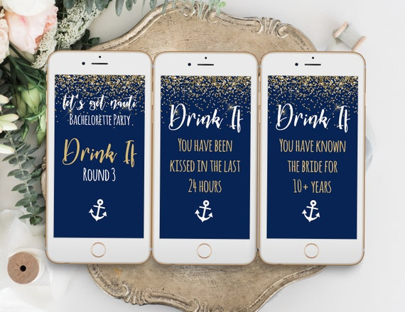 Bachelorette Party Drink If Mobile Template, Bach Weekend Activity, Drinking Game Nautical, Let's Get Nauti, Bridal Activity MARIN PPW28