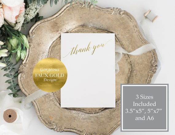 Gold Thank You Card, Wedding Card, Calligraphy Cards, Flat Card, Instant Download, Editable Template, A6, 5x7,  120G