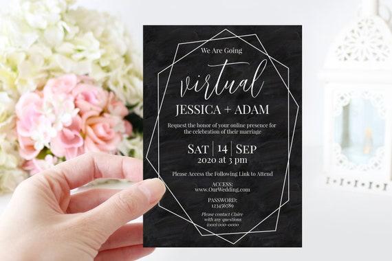 Virtual Wedding Invitation, Black Virtual Invitation Invite, Zoom Ceremony Announcement Editable Template VIDERE-N1W
