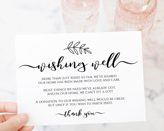 Wishing Well Card Template, Rustic Modern Leaf, Wedding Card,  Instant Download 100% Editable, Templett PPW0575