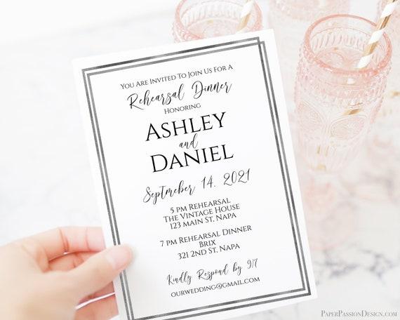 Silver Frame Rehearsal Dinner Invitation, Editable Wedding Rehearsal Invite, Modern Printable, Editable Template Corjl PPW-NY21S
