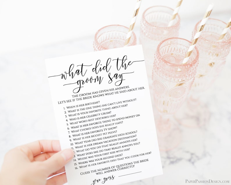 What Did The Groom Say Template Bridal Game Activity Rustic image 0