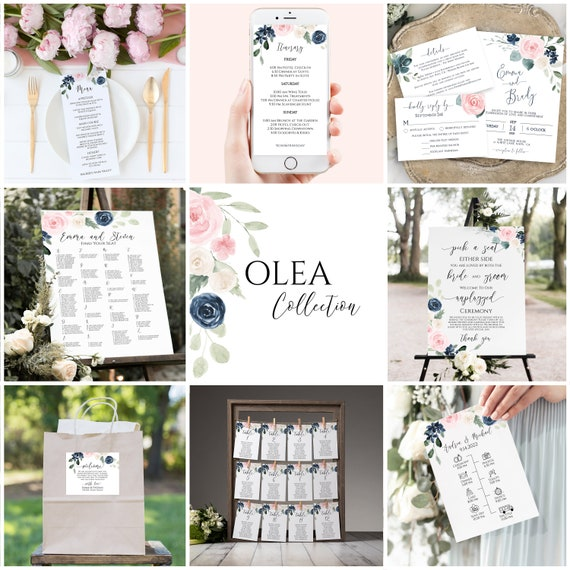 Wedding Template Bundle, Navy & Pink Floral Wedding Theme Package, Timeline, Sign, Menu, Program, Seating Cards, Favor Tag PPW265 OLEA