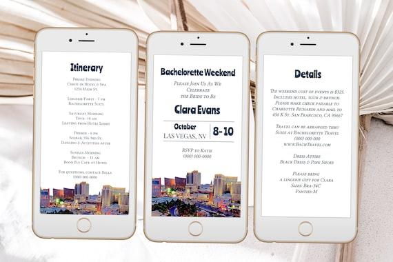 Las Vegas Electronic Invitation Set Template, Evite, Hen Party, Bridal Shower, Details, Itinerary Schedule, Wedding Events PPW38 VEGAS