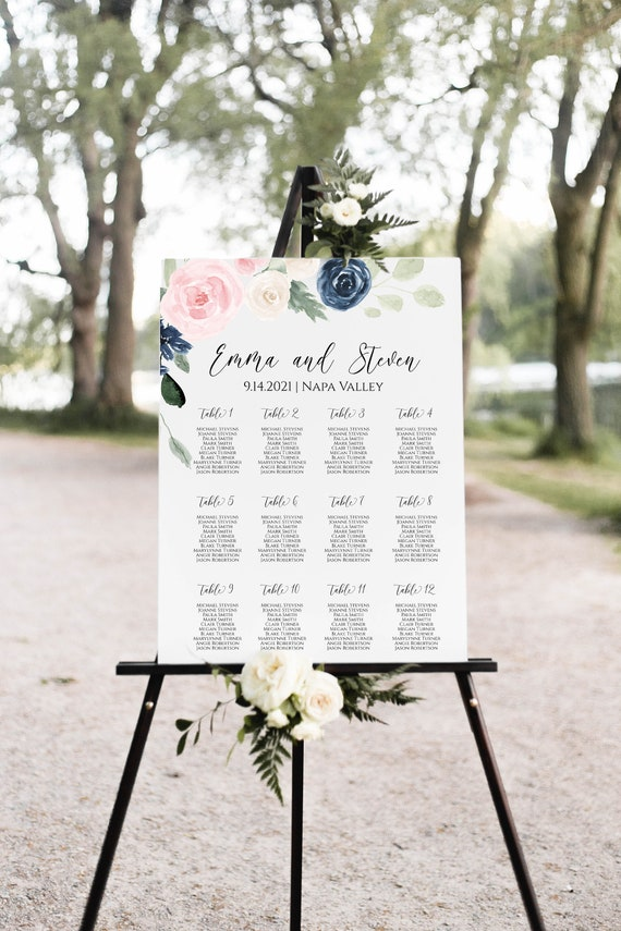 Wedding Seating Chart Template, Pink and Blue Floral Seating Chart, Seating Poster Display, Easel Seating Sign 100% Editable PPW265 OLEA