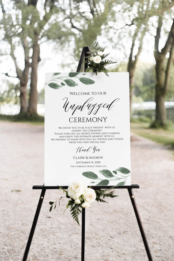 Unplugged Ceremony Sign Template, Wedding Greenery Printable, No Phones, No Cameras, 100% Editable  Templett PPW0450