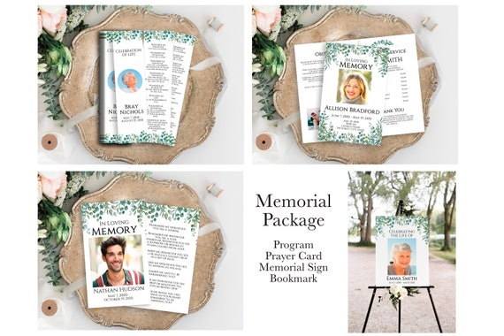 Memorial Package Welcome Sign, Program, Prayer Card, Bookmark Celebration of Life, Greenery Editable Corjl Template PPF440