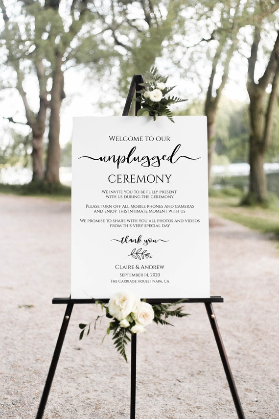 Unplugged Ceremony Sign, Wedding Display, No Phones, No Cameras, Personalized Instant Download 100% Editable, Templett PPW0575