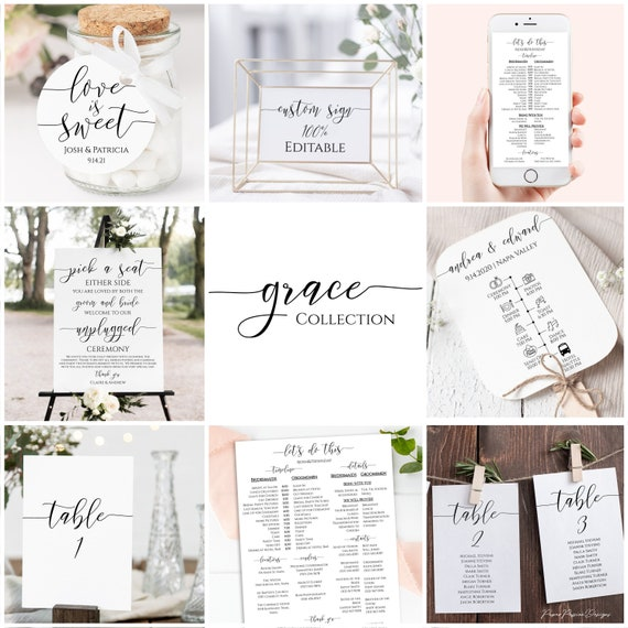 Wedding Template Bundle, Minimalist Elegant Wedding Theme Package, Timeline, Sign, Menu, Program, Seating Cards, Favor Tag PPW550 GRACE