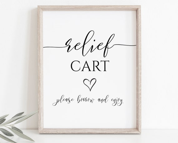 Elegant Relief Cart Sign Template, Reception Relief Station Sign, Wedding Printable, Editable Sign PPW550 GRACE