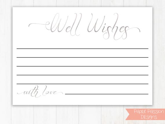 Silver Wedding Well Wishes Cards, Well Wishes Cards,  Leave a note for the Newlywed Cards, Wedding Template, Instant Download PDF, 110S