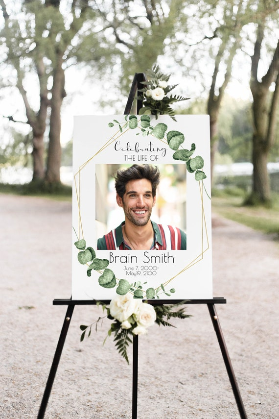 Memorial Sign, Celebration of Life, Photo Collage Sign, Funeral Welcome Sign, Editable Corjl Template CL445