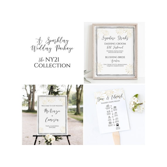 Wedding Template Bundle,  Gold and Silver Theme Package, Invitation Suite, Welcome Sign, Menu, Program, Seating Cards, Favor Tag PPW-NY21