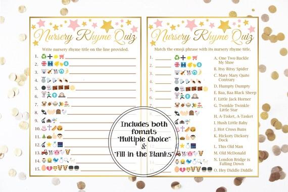 Emoji Nursery Rhyme Quiz, Gold and Pink Baby Shower, Baby Girl, Star Theme, Printable Game 31GldPStar