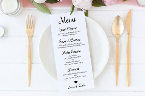 Wedding Menu Card, Event Table Decor, Simple Cursive Script Design, 100% Editable, Templett PPW0570