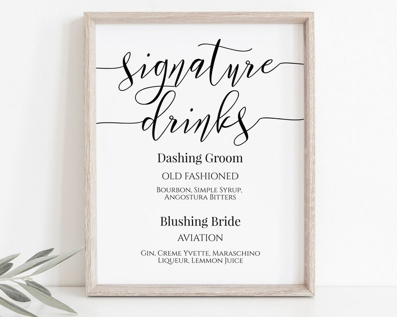 Signature Drinks Sign Bar Menu Bride and Groom Cocktail image 0