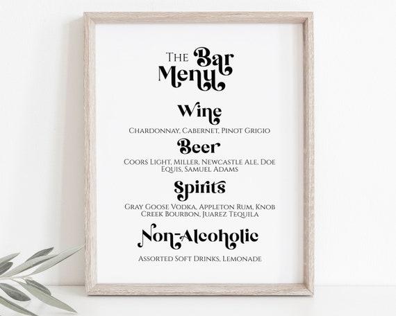 Bar Menu Sign Template, Wedding Drink Menu, Event Decoration Modern Retro Sign, Personalize Editable PPW74
