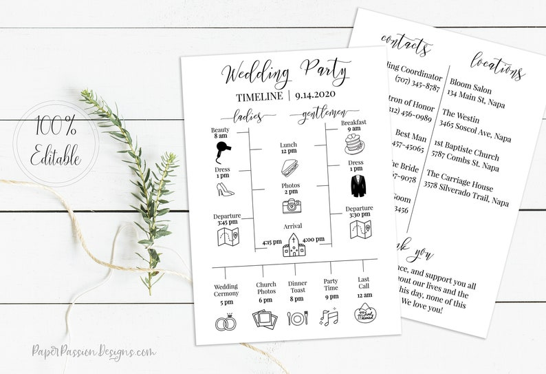 Wedding Party Timeline Printable Wedding Day Schedule image 0