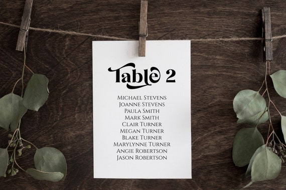 Wedding Table Seating Card Template, Wedding Seating Chart , Event Seating Modern Retro, Personalize Editable PPW74