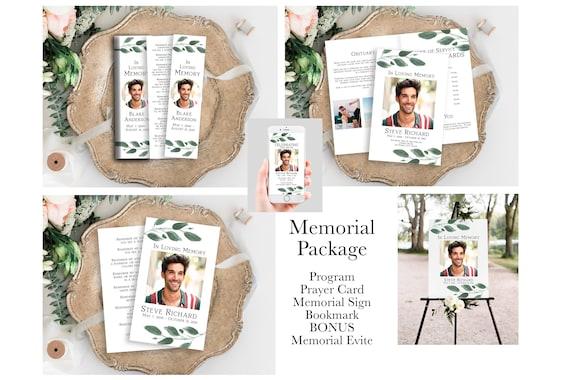 Greenery Memorial Package, Celebration of Life Template Set, Welcome Sign, Prayer Card, Memorial Book Mark, Program, Evite PPF450