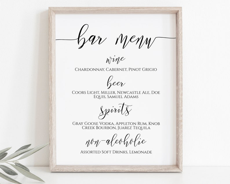 Bar Menu Wedding Reception Drink Menu Wedding Printable image 0