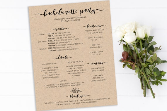 Bachelorette Party Timeline and Details, Itinerary Template, Girls Weekend, Hen Party, Instant Download 100% Editable, Templett PPW0575