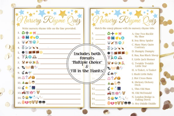 Emoji Nursery Rhyme Quiz ~ Blue and Gold Baby Shower ~ Baby Boy Star ~ Printable Game 31GldBStar