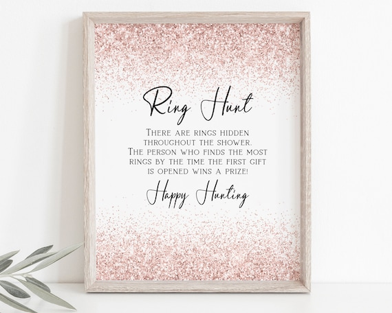 Ring Hunt Game Template, Pink Blush Glitter Bridal Shower, Bachelorette Party Bach Weekend Activity PPW90 PPW92