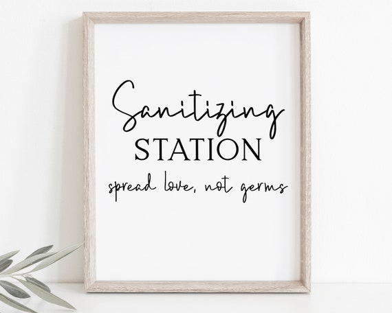 Sanitizing Station Sign, Modern Wedding Spread Love Not Germs Sign, Wash Your Hands Printable, Editable Sign PPW508