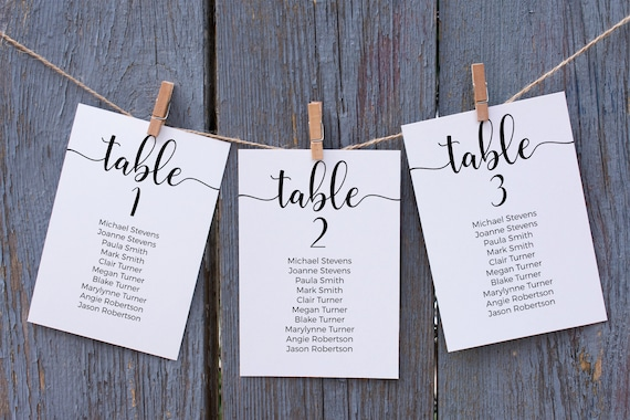Wedding Seating Table Cards, Poster, Script, Modern, Seating Display 100% Editable Template, Corjl PPW12 CATHERINE