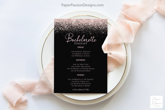 Bachelorette Party Itinerary, Hen Party Events, Bridal Shower, Blush Pink Glitter, 100% Editable Template, Corjl PPW90 PPW92