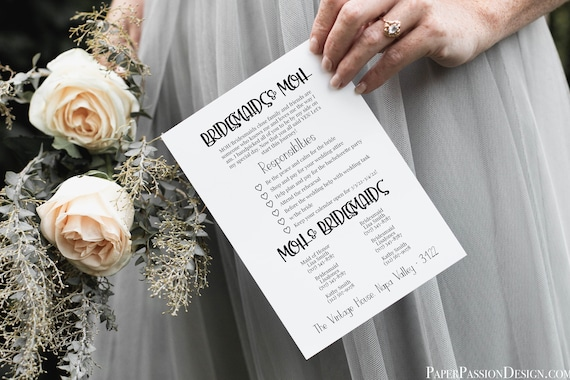 Bridesmaids Pledge Card, Printable Bridesmaid Commitment, Letter to Bridesmaid, Maid of Honor Proposal Box 100% Editable PPW21PIN