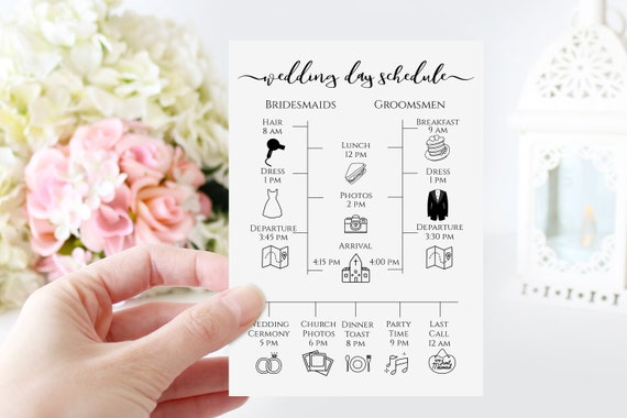 Wedding Party Timeline and Details Card, Bridesmaid and Groomsmen Template, Personalized Instant Download 100% Editable, Templett PPW0575