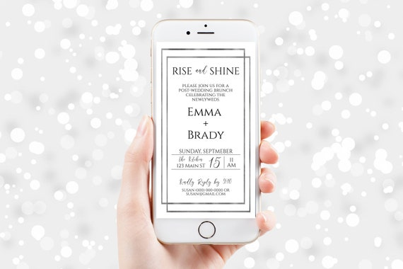 Electronic Wedding Brunch Invitation, Rise and Shite Mobile Phone Invite, Evite, Text message, Email, Editable Text,  Corjl PPW-NY21S