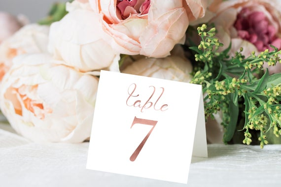 Table Numbers, Rose Gold Wedding Square Table Numbers Printable, Tented and Flat, Table Number Cards, Instant Download PDF, 110RG