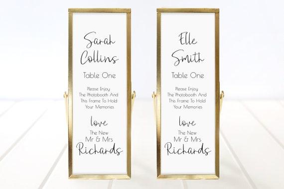 Photo Booth Place Card Frame Insert Template, Minimalist Elegant Design, Wedding Favor, Handwritten Font, 100% Editable, Templett PPW0580