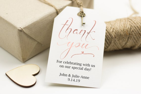 Rose Gold Thank You Tag, Wedding Favor Tag, Favor Thank You Tags, Editable Printable,  Instant Download, 110RG