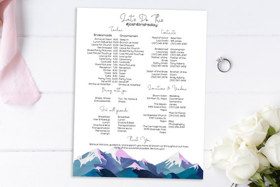 Wedding Party Timeline & Itinerary, Groomsmen, Bridesmaid, Wedding Day Plan, Winter Mountain Range, Printable Template, Corjl ANDES PPW420