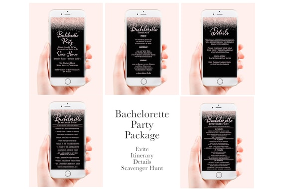 Bachelorette Party Electronic Template Package , Evite, Itinerary, Details, Scavenger Hunt, Mobile Phone Format, 100% Editabe, Corjl PPW92