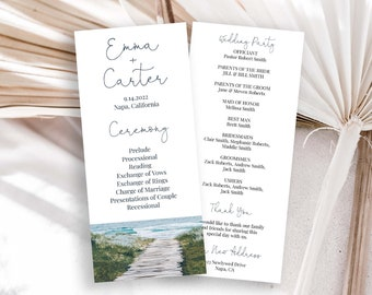 Beach Wedding Program Template, Ocean Theme Order of Events, Ceremony Handout Editable Printable PPW18 HAMPTON