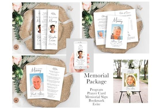 Memorial Package, Celebration of Life Template Set, Welcome Sign, Prayer Card, Memorial Book Mark, Program, Evite PPF575