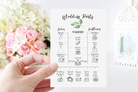 Wedding Party Timeline & Details, Green Foliage Schedule, Itinerary, Greenery Order of Events, 100% Editable, Templett PPW0480